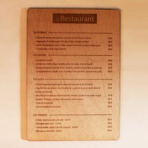 Carte restaurant A4